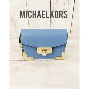 MICHAEL KORS KINSLEY FRENCH BLUE LEATHER ACCORDION